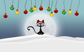 Picture balls, new year, winter, snow, cat