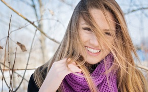 Picture autumn, girl, face, eyelashes, smile, hair, scarf, long