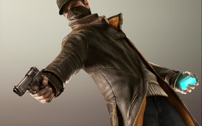Picture gun, weapons, phone, cap, Watch Dogs, Ubisoft Montreal, Aiden Pierce, Watchdogs, Aiden Pearce