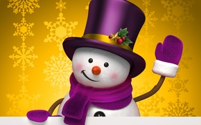 Wallpaper winter, snowflakes, yellow, holiday, graphics, Christmas, hat, snowman, christmas, new year, cylinder