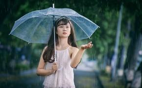 Picture girl, drops, face, umbrella, rain, hand, East