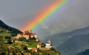Picture mountains, castle, rainbow