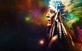 Picture space, stars, background, the universe, feathers, mystic, Indian