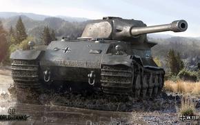 Wallpaper landscape, VK 72.01 (K), forest, tank, dirt, World of Tanks, heavy, trees, German, puddle