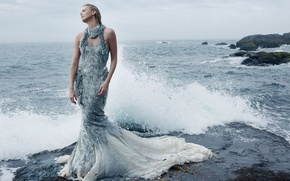 Picture sea, girl, squirt, Charlize Theron, dress, actress, surf, Charlize Theron