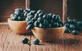 Wallpaper drops, wet, berries, table, food, grapes
