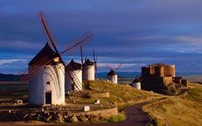 Picture road, castle, mill, Spain
