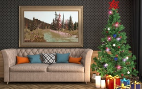Picture sofa, tree, interior, picture, candles, gifts, New year, Christmas, New Year, picture, candles, gifts, Holidays