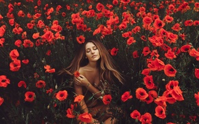 Picture girl, flowers, nature, Maki