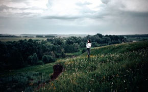 Picture field, grass, girl, trees