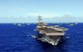 "Wallpaper sea, ships, the carrier, USS, Ronald Reagan, type ""Nimitz"", (CVN-76)"