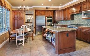 Picture design, photo, table, chairs, interior, kitchen, chandelier