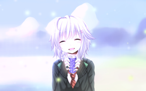 Picture girl, snow, anime, smiling, Sweetheart