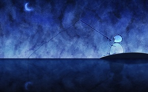 Wallpaper figure, fisherman, a month