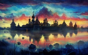 Picture sunset, birds, lake, art, the monastery, painted landscape