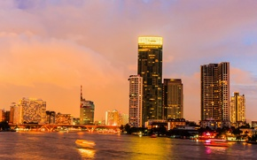 Picture sunset, skyscrapers, Thailand, channel, Bangkok