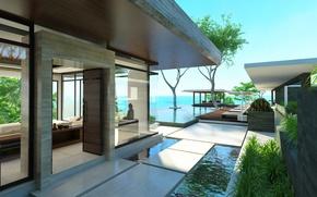 Picture design, style, Villa, interior, pool, terrace
