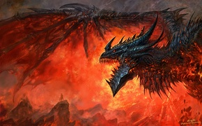 Wallpaper flame, dragon, wow, world of warcraft, cataclysm, Deathwing, deathwing, dragon