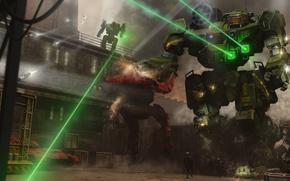 Picture weapons, robots, art, base, soldiers, laser, shots, giant, Mechwarrior Online