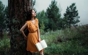 Wallpaper tree, girl, book