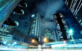 Wallpaper the city, lights, Japan, Tokyo