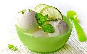 Picture lemon, ice cream, mint, dessert, sweet