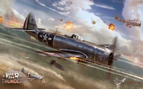 Picture the sky, fire, war, fighter, bomber, Art, American, Thunderbolt, P-47, piston, single-engine, Republic, War Thunder