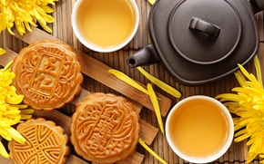 Picture flowers, tea, kettle, cookies, the tea party, Cup, cake, chrysanthemum, dessert, cakes, Chinese, Mat