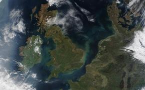 Picture sea, Strait, earth, shore, view, contour, France, Europe, UK, Ireland, Denmark