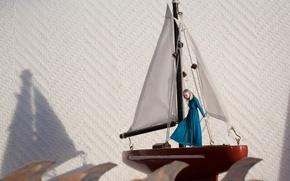 Wallpaper sailboat, girl, wave, ship