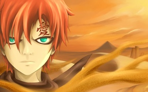 Picture sand, desert, anime, art, naruto, Gaara