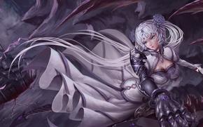 Picture dark, sword, flower, sky, flying, war, anime, cloud, wings, tail, mountains, fortress, rocks, ken, leather, …