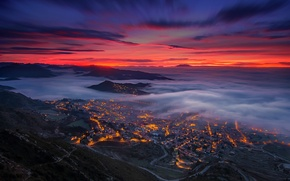 Picture clouds, fog, the evening, valley, Spain, Catalonia, Berg