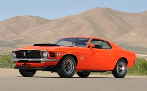 Picture the sky, mountains, orange, Mustang, Ford, Ford, Mustang, muscle car, classic, 1970, the front, Boss, ...