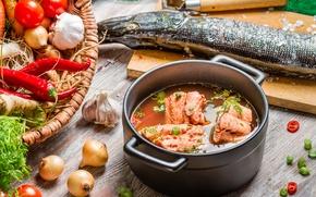 Picture fish, vegetables, fish, ear, vegetables, pike, the first dish, the first dish, fish soup, pike