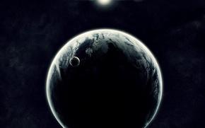 Wallpaper the sun, satellite, Planet