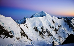 Picture the sky, snow, sunset, mountains, nature