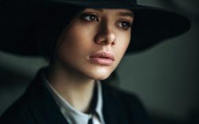 Picture girl, face, model, portrait, hat, the beauty, bokeh, brown-eyed, Daria, Daria Chernenko, Max Kuzin