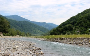 Picture mountains, river, stones