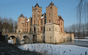 Picture Blue Sky, Winter, Belgium, Castle, Ice, Bruges, Tillegem