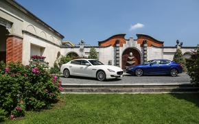 Picture flowers, house, Maserati, two, flowerbed, GranTurismo, Ghibli, quattroporte s