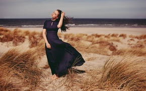Picture sand, summer, girl, pose, the wind, dress