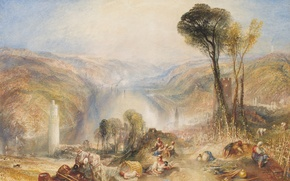 Picture landscape, mountains, people, tower, picture, William Turner, Oberwesel