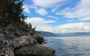 Picture mountains, stones, Lake, Baikal
