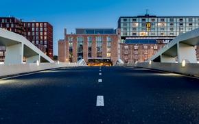Picture dusk, cityscape, Amsterdam, urban scene, twilight, bridge, Netherlands