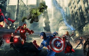 Picture thor, hulk, spider man, iron man, captain america:civil war