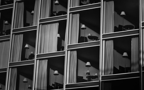 Picture lamp, the building, minimalism, black and white