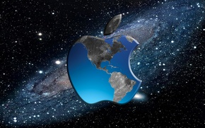 Picture computer, space, earth, apple, Apple, mac, phone, laptop, gadget