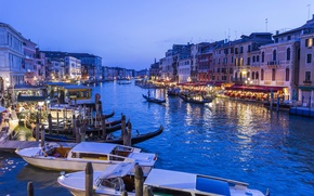 Picture lights, home, boats, the evening, lights, Italy, Venice, boats, water