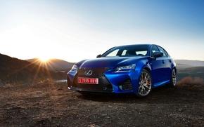 Picture the sun, sunset, the evening, Lexus, sedan, Lexus